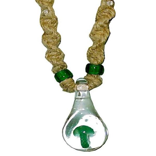 Green Mushroom Hemp Necklace