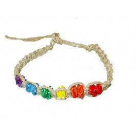 Hemp Bracelet/Anklet w/ Rainbow Shell Beads