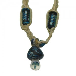 hemp necklace mushroom blue mushroom inside stem