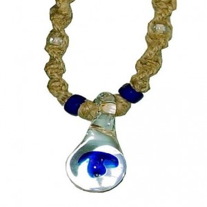 hemp necklace blue mushroom
