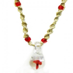 red mushroom hemp necklace