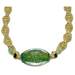 spiral hemp necklace large green and blue glass bead