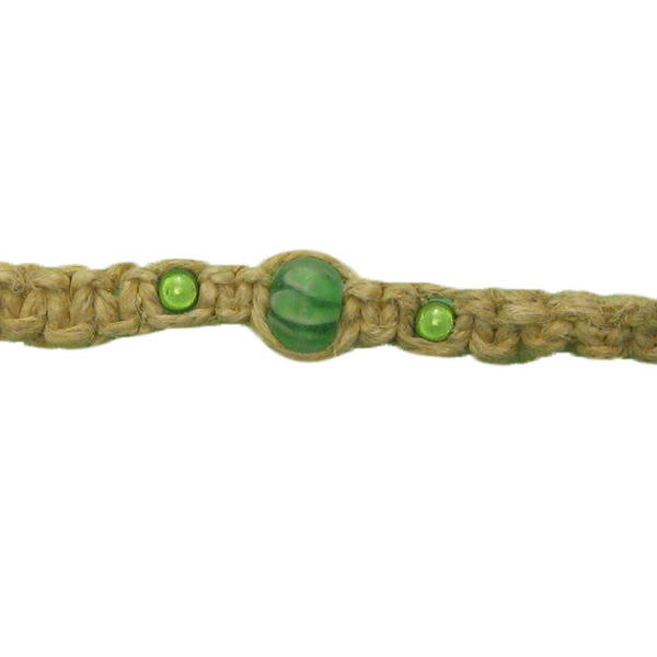 Hemp Bracelet/Anklet w/ Beautiful Green Beads