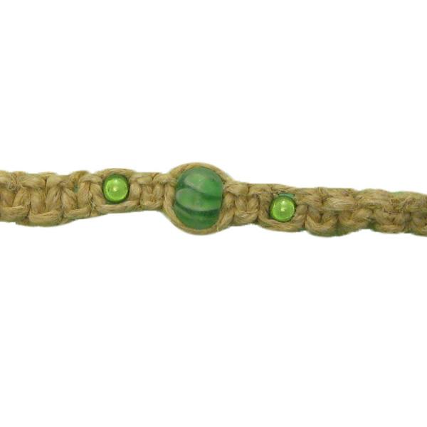 Hemp Bracelet/Anklet w/ Beautiful Green Beads