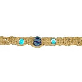 Hemp Bracelet/Anklet w/ Beautiful Blue Beads