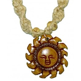 Spiral Hemp Necklace with Sun Pendant
