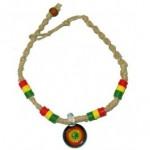 Hemp Rasta Style Bracelet/Anklet w/ Round Rasta Pendant & Beads