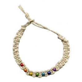 Hemp Bracelet/Anklet w/ Small Rainbow Beads