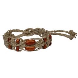 Hemp Bracelet/Anklet/Choker Wide Macrame w/ Wood Beads