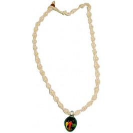 Hemp Necklace with Rasta Mushroom Garden Pendant