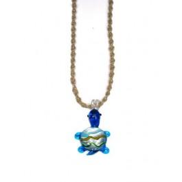 Hemp Necklace with Blue Glass Turtle Pendant