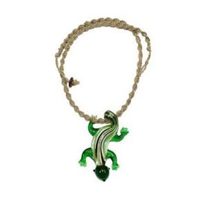 """20"""" Spiral Hemp Necklace w/ Green Glass Lizard Pendant"""