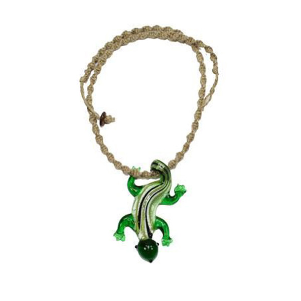 "20"" Spiral Hemp Necklace w/ Green Glass Lizard Pendant"