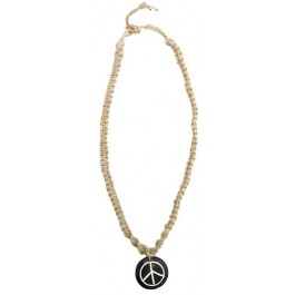 Hemp necklace with black and white peace sign pendant